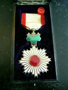 5th Class Japanese Wwii Ww2 Rising Sun Medal W/original Case And Rosette Lapel Pin