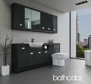 Bathroom Fitted Furniture Anthracite Gloss/hacienda Black A3 2000mm With Wall Un