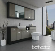 Bathroom Fitted Furniture Latte Gloss/hacienda Black A3 2000mm With Wall Units -