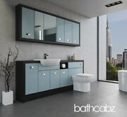 Bathroom Fitted Furniture Duck Egg Blue/hacienda Black A3 2000mm With Wall Units