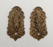 Antique Victorian East Lake Brass Keyhole Escutcheon Covers - Matching Pair 2