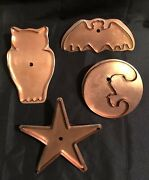 Set Of 4 Martha Stewart By Mail Copper Cookie Cutters Bat Owl Moon And Star