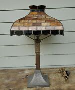 Antique - Early - Arts And Crafts Mission Table Lamp Slag Glass Prairie - Tall