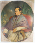 Large Antique Religious Portrait American Or German Cardinal Bishop Oil Painting