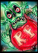Rat Fink Orignial Sketch Card Painting By Bianca Thompson