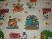 6g Vintage Peanuts Snoopy Disco Charlie Brown Twin Flat Bed Sheet {fabric}