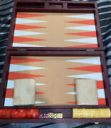 Vintage Bakelite Backgammon Game Checkers 30 Red And Butterscotch Marble Swirl
