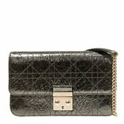 Christian Dior Handbag S0257 Ovnh 22g Patent Leather Silver Green