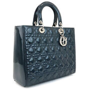 Christian Dior Lady Canage Patent Leather Handbag 2way Navy Silver Fittings
