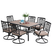 7 Pieces Outdoor Patio Table Chair Set Garden Swivel Chair 6 Person Furniture