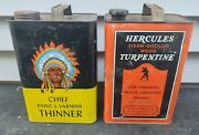Vintage Chief Paint And Varnish Thinner 1 Gallon Can And Hercules Turpentine Can