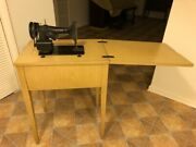 Vintage Singer Sewing Machine In Its Fold Up Table Desk All Original