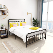 Metal Bed Frame Vintage Sturdy Full Size With Headboard And Footboard Mattress