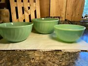 3 Vintage Fire King Jadeite Green Swirl Oven Ware Nesting Mixing Bowls 789