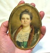 William J Whittemore Portrait Of Woman 10k Gold Frame Rare Piece Signed