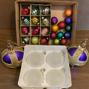 Vintage Glass / Plastic Christmas Ornament Mixed Lot Shiny Brite Pinecone + More