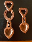 Antique 2 Carved Wooden Welsh Love Spoons Made In Wales W Hearts-wheels-keyholes
