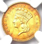 1856 Indian Gold Dollar G1 - Certified Ngc Au Details - Rare Early Coin