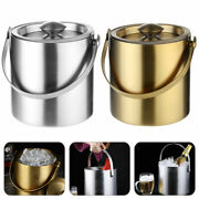 Ice Bucket Silver 2l Stainless Steel Insulated With Lid Tongs Wine Cooler New