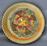 C194 Fenton Grape And Cable Marigold Carnival Glass Footed Plate With Plain Back