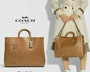 Coach 1941 Rogue 39 W/embroidery Tumeric Nuts/brass Vintage Look Natural Leather