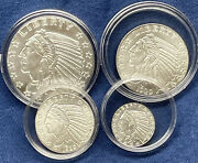 Lot Of 4 Incuse Receded Indian Head 1oz. 1/2oz. 1/4oz 1/10oz.999 Silver Rounds
