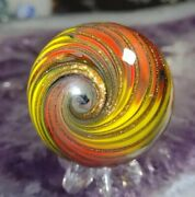 🦄1.50 Extremely Tight Gold Lutz Corkscrew - New Contemporary Art Glass Marbles