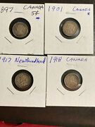 Group Of 12 Canadian Coins 5 Cents, 10, 25, 1922 Cent Nice Original Pieces