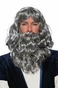 Biblical Abraham Moses Grey Adult Wig And Beard Set Costume Accessory