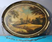 Antique Hand Painted Painting English Oval Tole Serving Tray Toleware