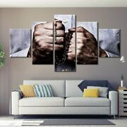 5 Panel Framed Hands Cross Beads Religion Canvas Picture Wall Art Hd Print Decor