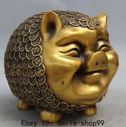 11 Chinese Pure Bronze Fengshui Wealth 100 Fu Pig Save Money Pot Treasure Bowl