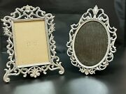 """Set Of 2 Vintage Metal Silver Toned Picture Frames, 5x7 And 6""""x4"""" Wedding"""