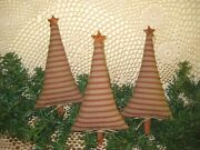 Country Christmas Decor 3 Red Primitive Trees Bowl Fillers Fabric Ornaments