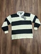 New Guinness Guiness Black And Cream Long Sleeve Rugby Shirt Patch Front And Back