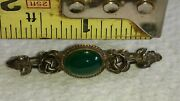Vintage Art Deco Sterling Silver And Chrysoprase Roses Bar Pin Brooch 925