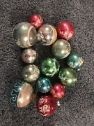 14 Vintage 1950and039s Shiny Brite Stenciled Mercury Glass Christmas Ornaments