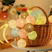 Led Cotton Ball Garland Fairy Lights String Christmas Holiday Party Decoration