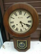 Vintage Montgomery Ward Wind Up 31 Day Schoolhouse Wall Clock Working
