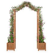 Garden Arch With Planter Solid Acacia Wood 70.9x15.7x85.8__44112us