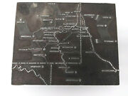 Letterpress Block Cut Map Of Pittsburgh Pa 9 Inches