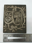 Letterpress Block Cut Lino Cut Faces One Of A Kind. Tragedy And Comedy Masks