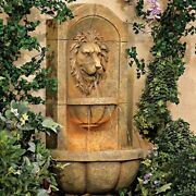 Lion Head Roman Outdoor Wall Water Fountain With Light Led
