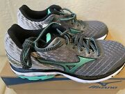 New Womenand039s Mizuno Wave Rider 19 Running Shoes Grey Teal Color Wide Size W 7.5