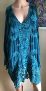 1x Turquoise Teal Eyelet Embroidered Sea Turtle Johnny Was Top Shirt Tunic
