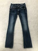 Miss Me Signature Boot Cut Jeans Size 26 Measured 27x33 Cowgirl Pink/white Fur