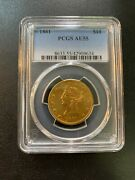 1861 Ten Dollar Gold Eagle Pcgs Au-55 - About Uncirculated - Certified Slab -10