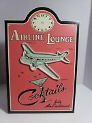Airline Lounge Cocktails Fully Air Condition Metal Signed Missing Clock Hands As
