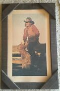 Vintage Gordon Snidow Coors Beer Cowboy On Fence Framed Poster Print 22 X 35
