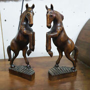 2 Horses Wooden Hand Carved Figurines Sculpture Stand Vintage Style Home Decor